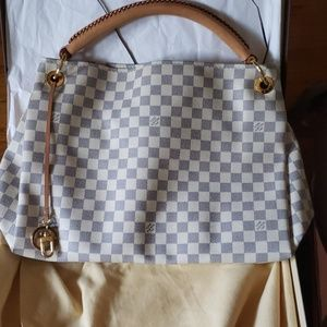 Louis Vuitton Artsy Damier Azur Leather Hobo